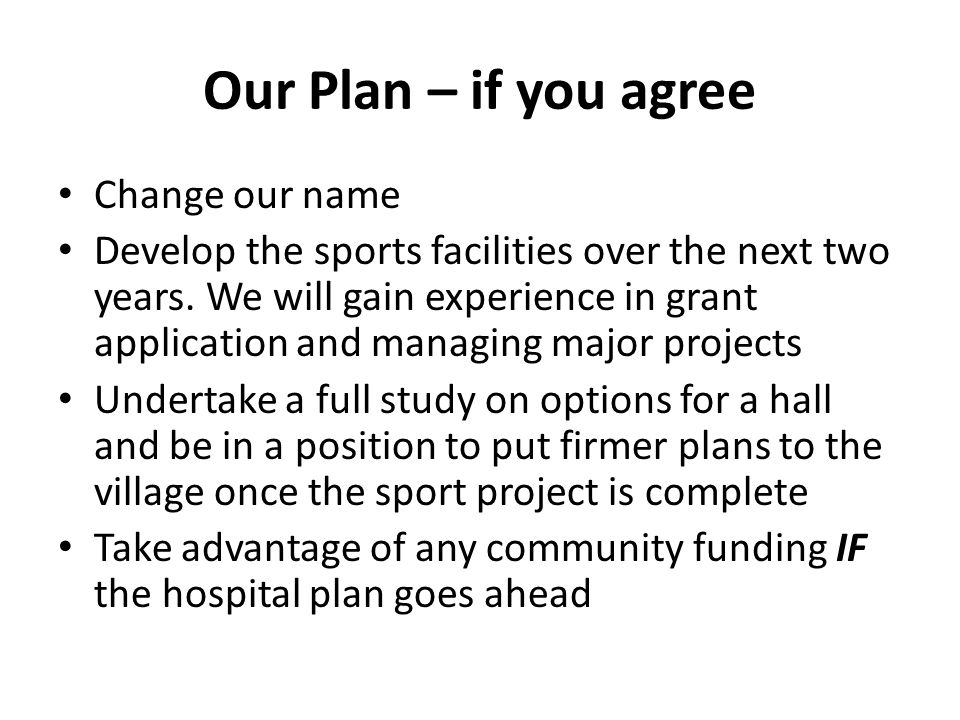 Our Plan – if you agree Change our name Develop the sports facilities over the next two years.