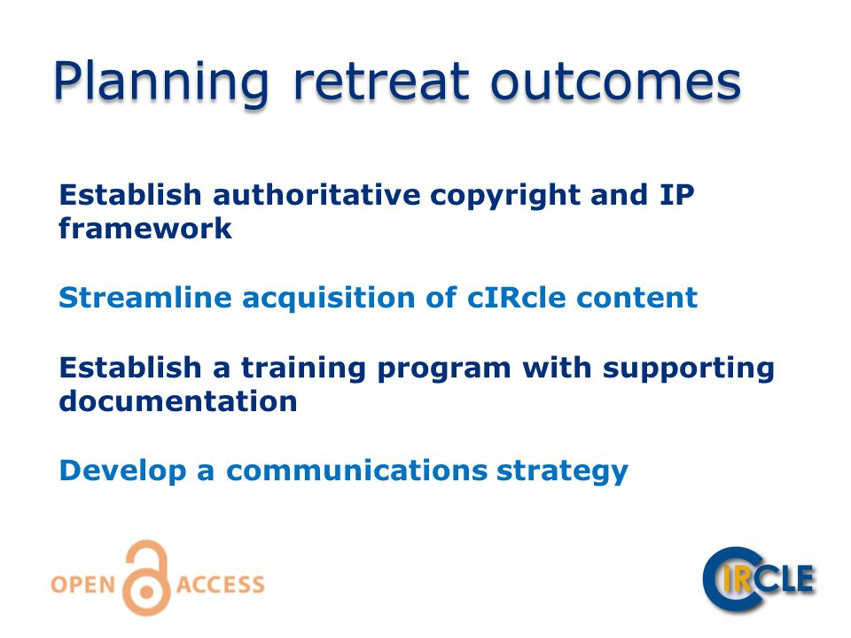 Establish authoritative copyright and IP framework Streamline acquisition of cIRcle content Establish a training program with supporting documentation Develop a communications strategy Planning retreat outcomes