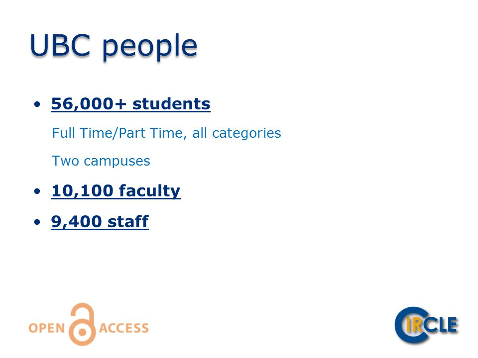 56,000+ students Full Time/Part Time, all categories Two campuses 10,100 faculty 9,400 staff UBC people