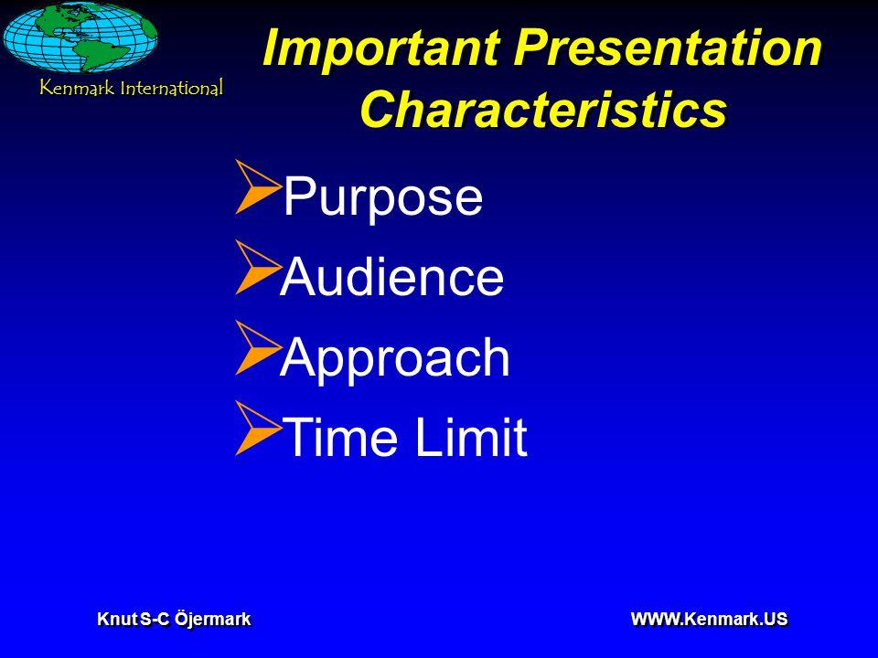 K enmark International Knut S-C Öjermark WWW.Kenmark.US Key elements of Visuals Organization  The rule of Tell'em.