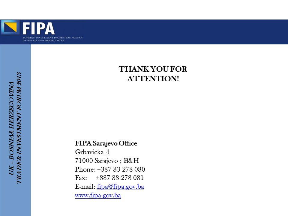 UK – BOSNIA& HERZEGOVINA TRADE & INVESTMENT FORUM 2013 FIPA Sarajevo Office Grbavicka 4 71000 Sarajevo ; B&H Phone: +387 33 278 080 Fax: +387 33 278 0