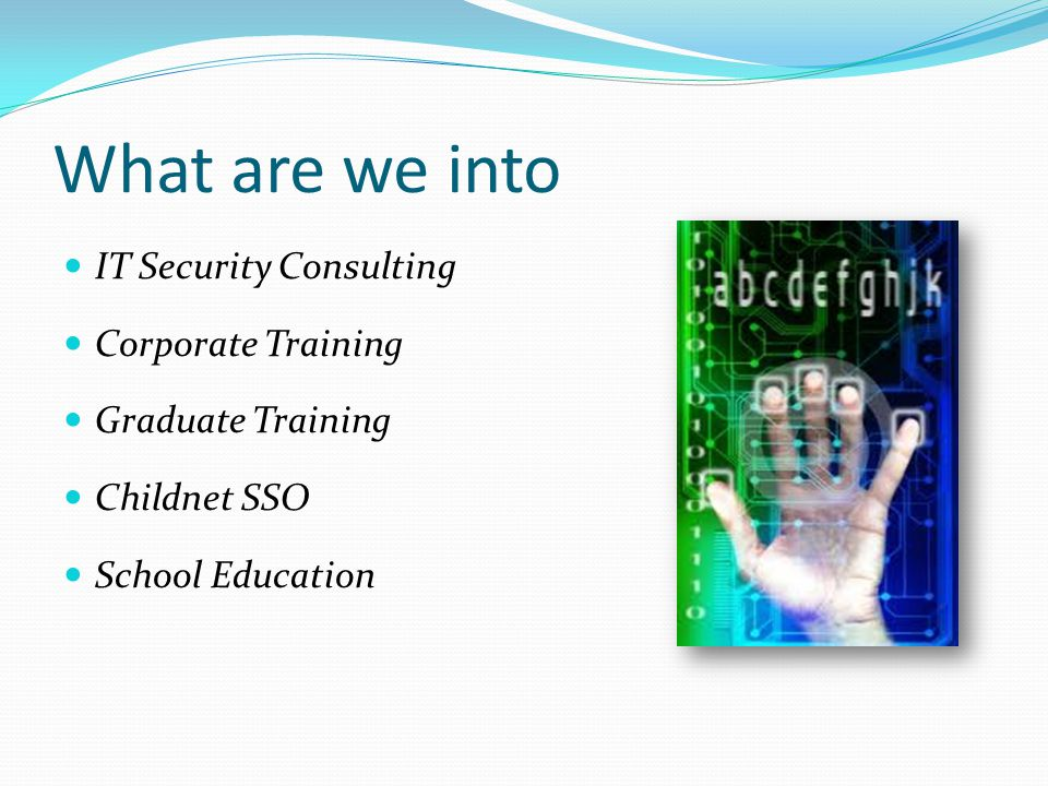 What are we into IT Security Consulting Corporate Training Graduate Training Childnet SSO School Education