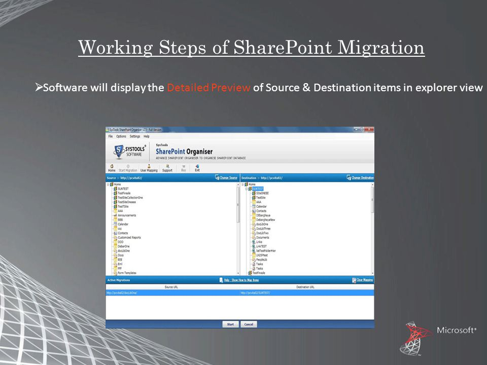 Working Steps of SharePoint Migration  Software will display the Detailed Preview of Source & Destination items in explorer view