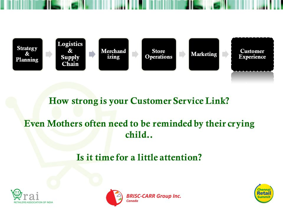 How strong is your Customer Service Link? Even Mothers often need to be reminded by their crying child.. Is it time for a little attention? Strategy &