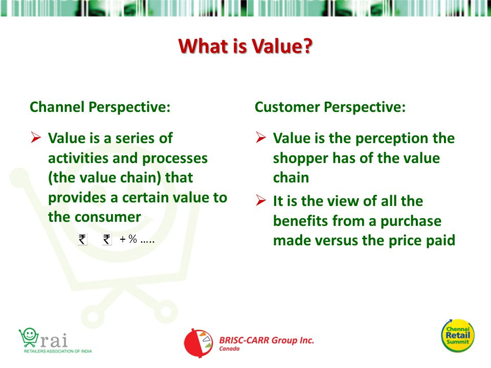 What is Value? Channel Perspective:  Value is a series of activities and processes (the value chain) that provides a certain value to the consumer Cu