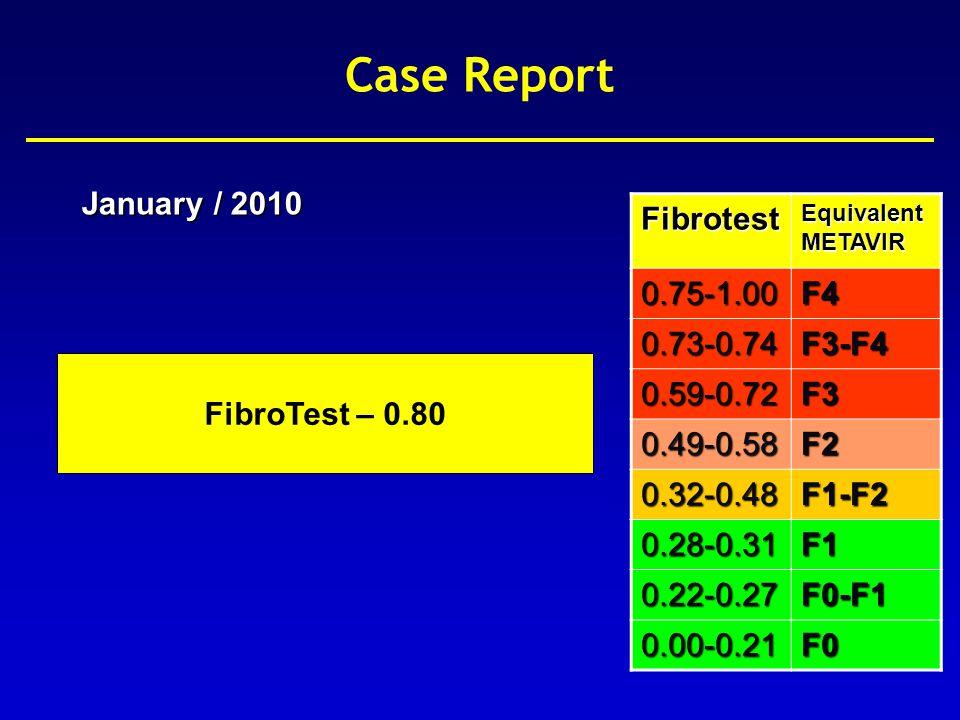 Fibrotest 0.75-1.00F4 0.73-0.74F3-F4 0.59-0.72F3 0.49-0.58F2 0.32-0.48F1-F2 0.28-0.31F1 0.22-0.27F0-F1 0.00-0.21F0 Imbert-Bismuth et al.