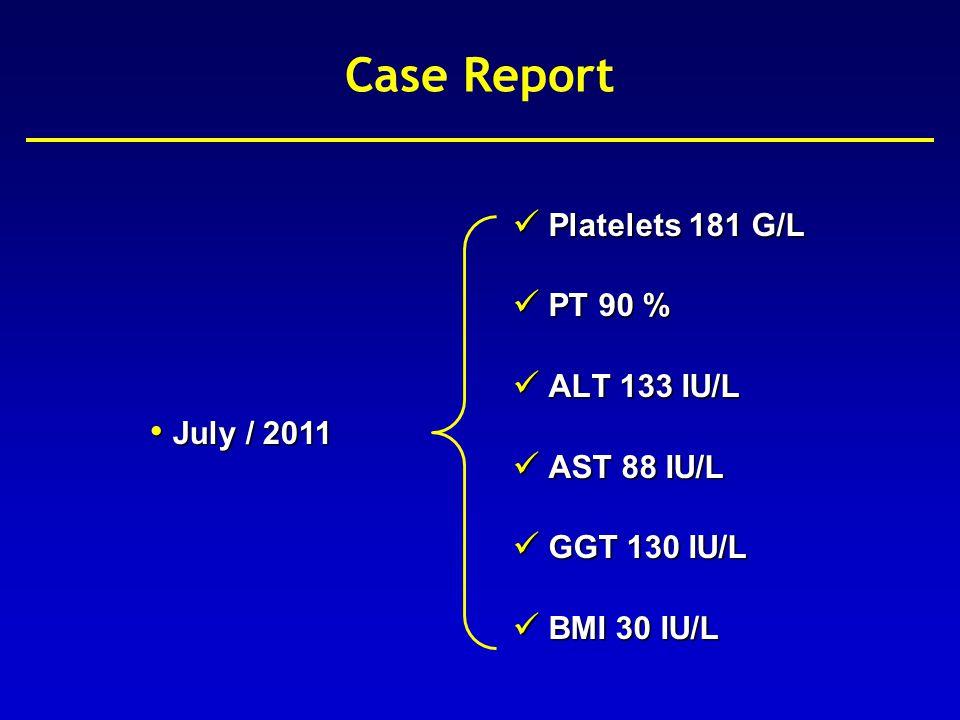 Case Report July / 2011 FibroScan ® – 12.0 kPa / 1.2 / 100% FibroTest – 0.78