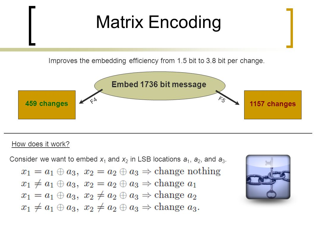 Matrix Encoding Improves the embedding efficiency from 1.5 bit to 3.8 bit per change. Embed 1736 bit message F4 F5 459 changes How does it work? 1157