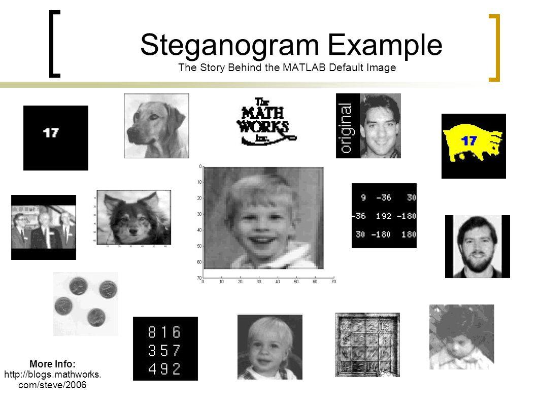 Steganogram Example The Story Behind the MATLAB Default Image More Info: http://blogs.mathworks. com/steve/2006