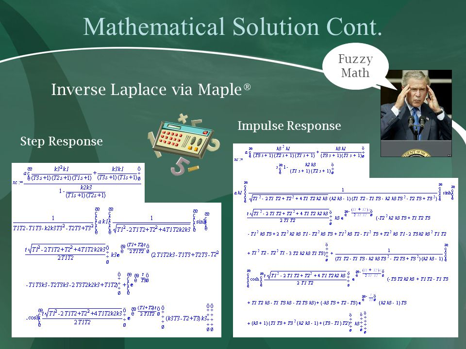 Mathematical Solution Cont. Inverse Laplace via Maple® Step Response Impulse Response Fuzzy Math