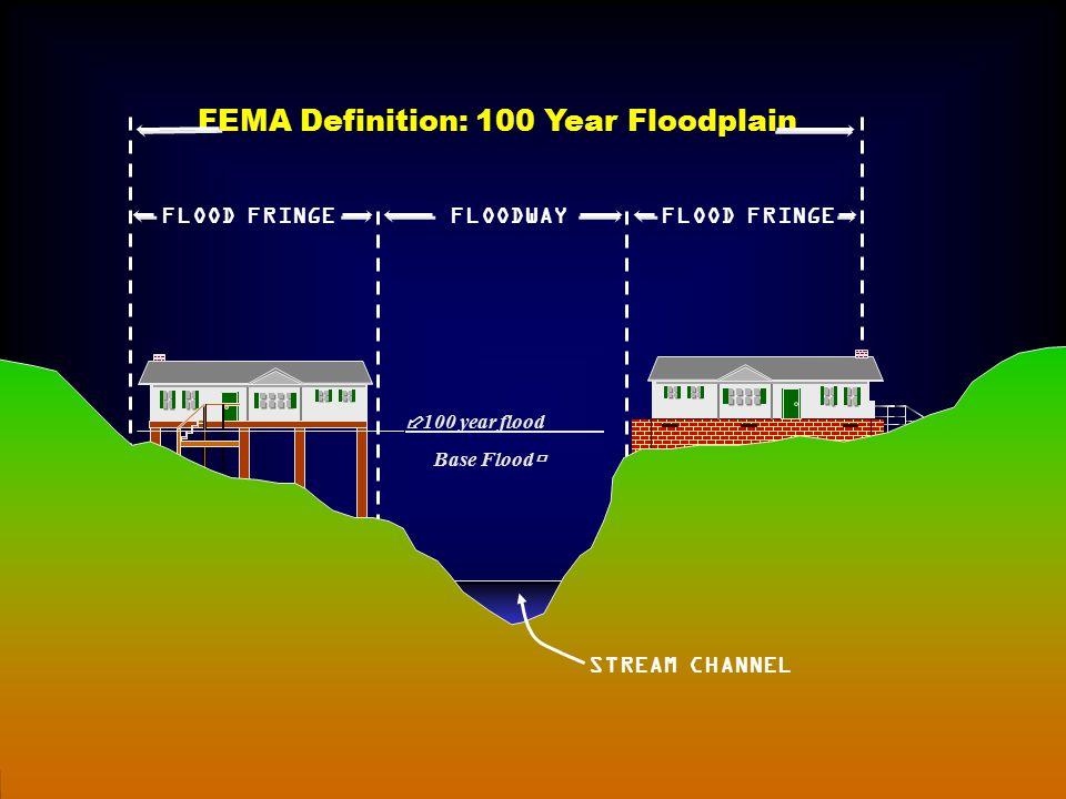 STREAM CHANNEL FEMA Definition: 100 Year Floodplain FLOODWAYFLOOD FRINGE ______________________________  100 year flood _____ Base Flood 