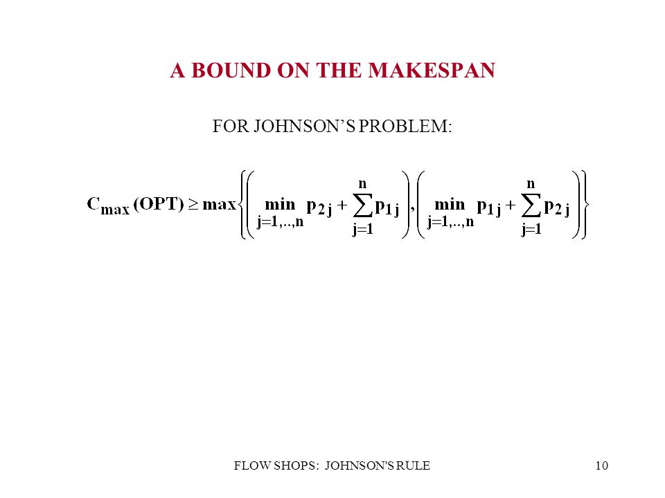 FLOW SHOPS: JOHNSON'S RULE10 A BOUND ON THE MAKESPAN FOR JOHNSON'S PROBLEM: