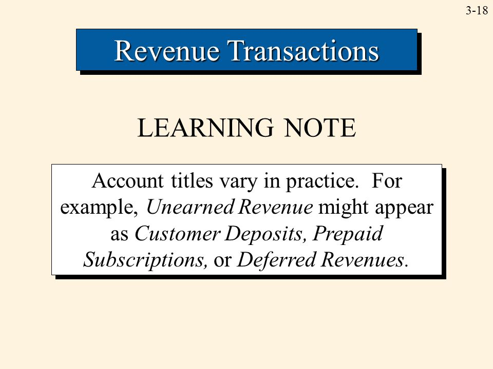 3-18 Revenue Transactions LEARNING NOTE Account titles vary in practice. For example, Unearned Revenue might appear as Customer Deposits, Prepaid Subs