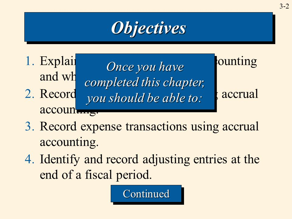 3-2 1.Explain the concept of accrual accounting and why it is used.