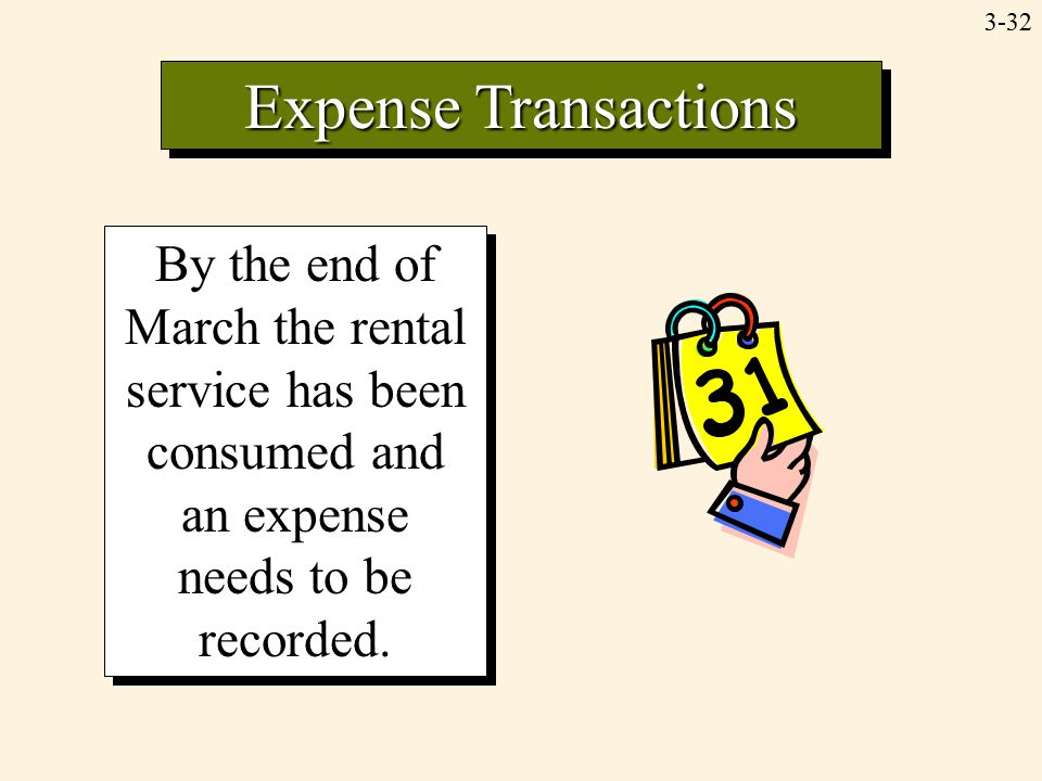 3-32 By the end of March the rental service has been consumed and an expense needs to be recorded. Expense Transactions