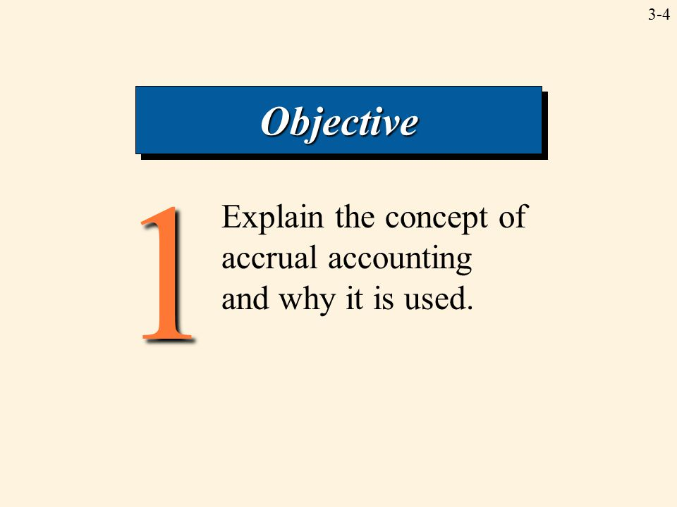3-41 ObjectiveObjective Explain the concept of accrual accounting and why it is used.