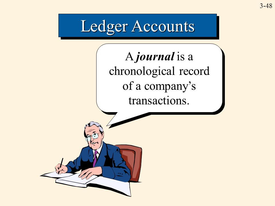 3-48 Ledger Accounts A journal is a chronological record of a company's transactions.
