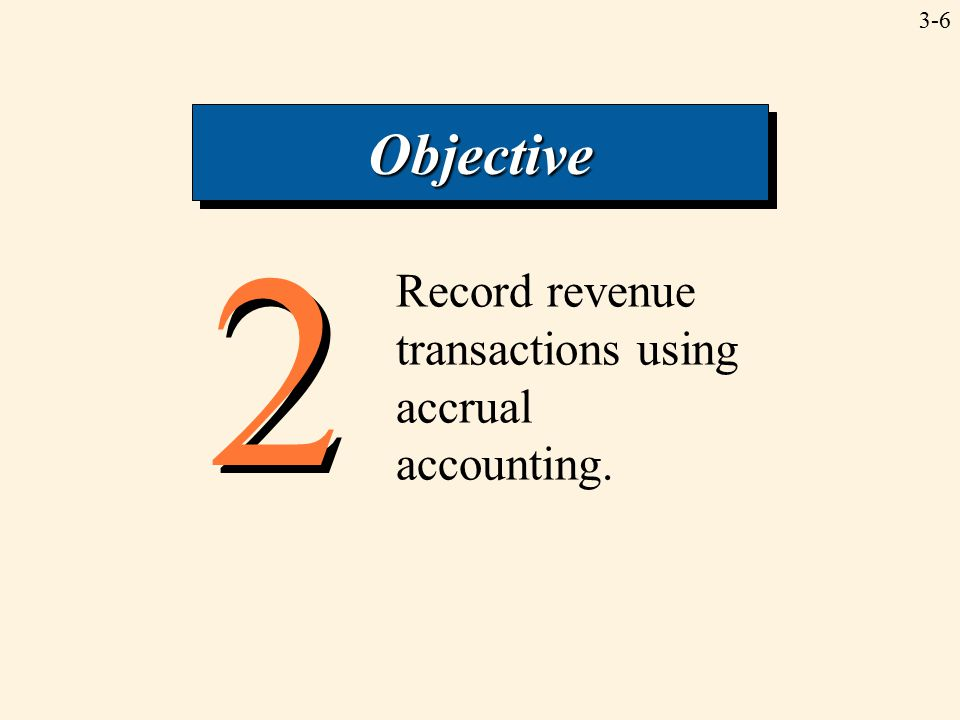3-6 2 2 Record revenue transactions using accrual accounting. ObjectiveObjective