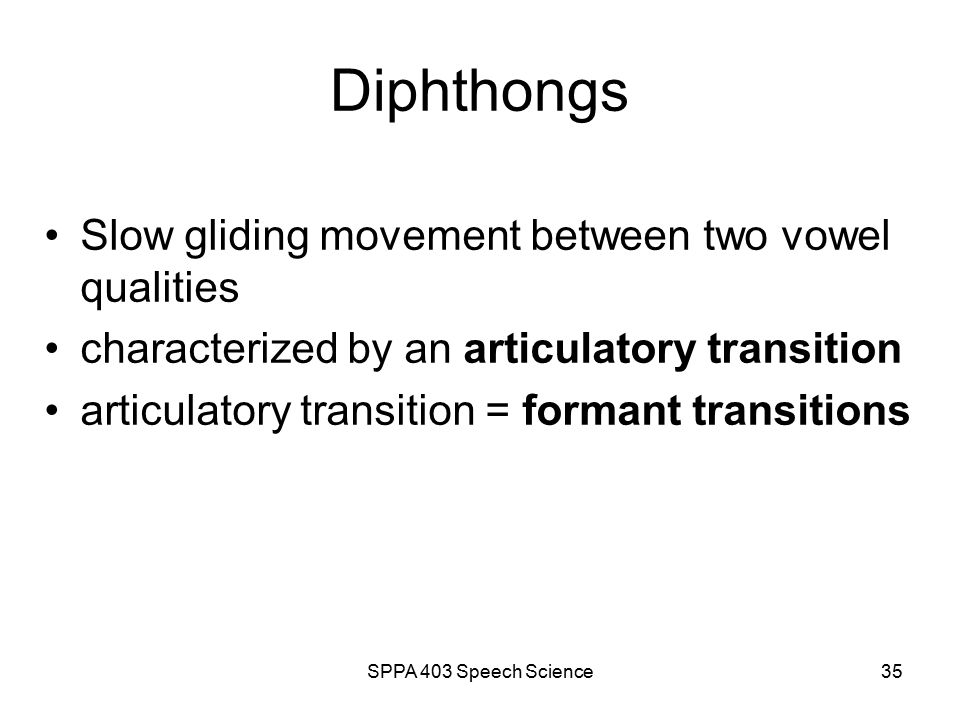 SPPA 403 Speech Science34 Unit 3 outline The Vocal Tract (VT) Source-Filter Theory of Speech Production Capturing Speech Dynamics The Vowels The Diphthongs The Glides The Liquids