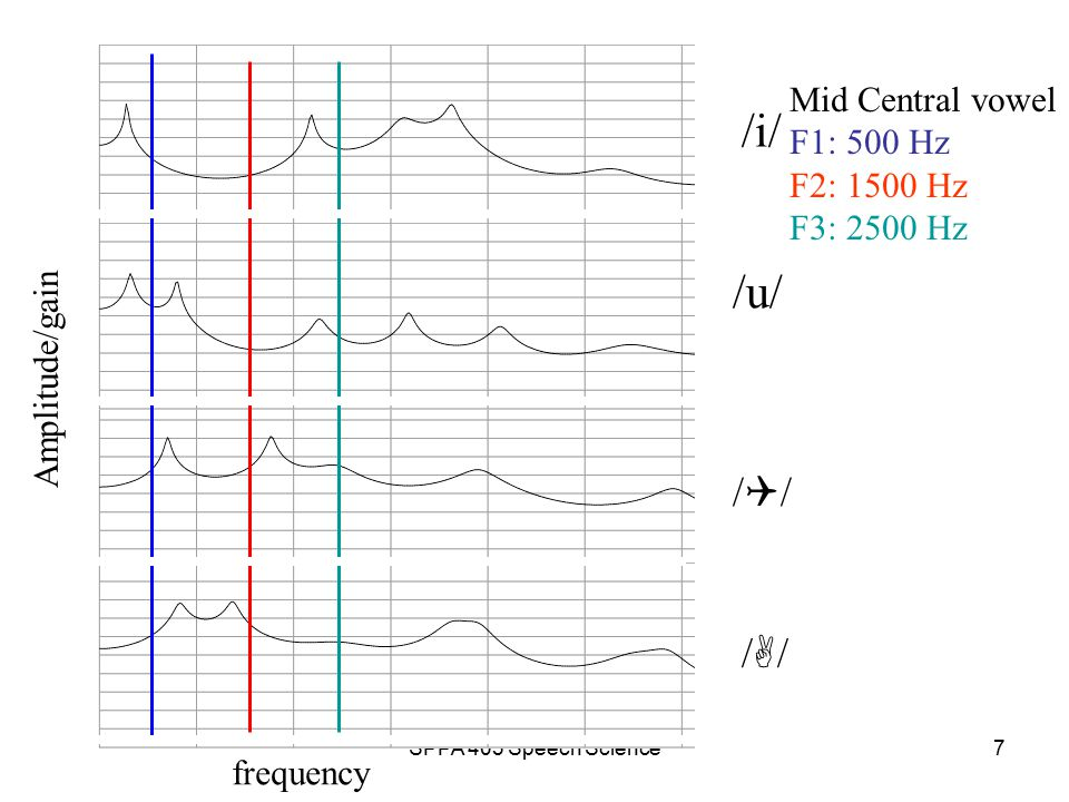SPPA 403 Speech Science6 Source-Filter Theory: Modeling Vowels VT has an infinite number of resonances/formants Identification of vowel quality seems most dependent upon the location of F1, F2 & F3 These observations are based on –Studies of vowel perception –Modeling efforts which suggest F4-F6 are relatively static –the observation that glottal source spectrum rolls off with increasing frequency
