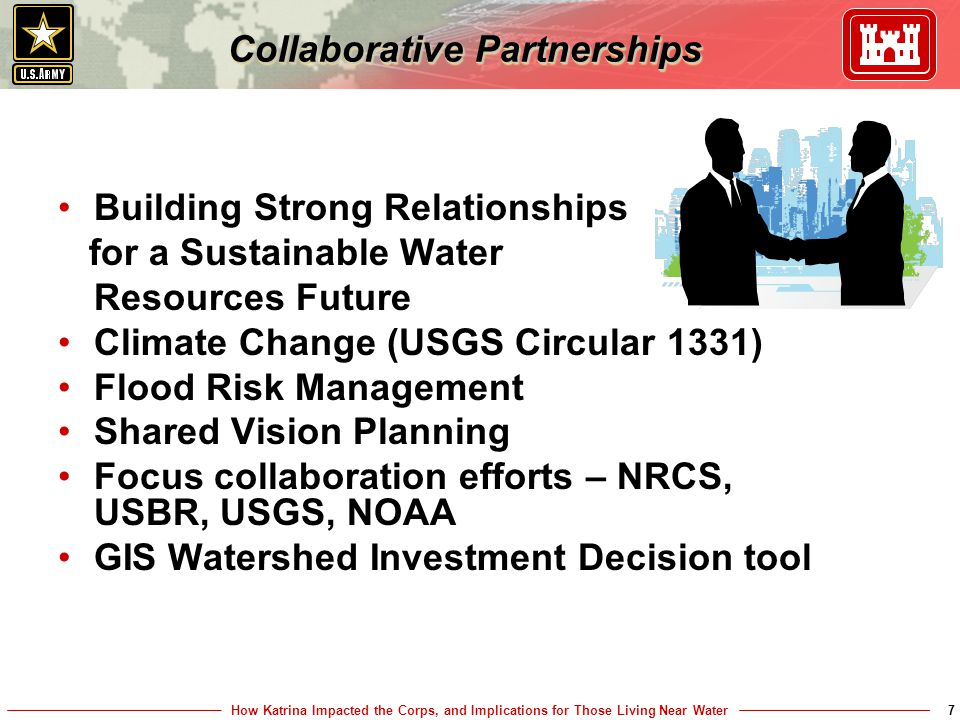 How Katrina Impacted the Corps, and Implications for Those Living Near Water7 Collaborative Partnerships Building Strong Relationships for a Sustainable Water Resources Future Climate Change (USGS Circular 1331) Flood Risk Management Shared Vision Planning Focus collaboration efforts – NRCS, USBR, USGS, NOAA GIS Watershed Investment Decision tool