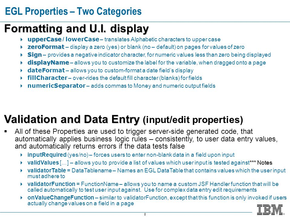 8 EGL Properties – Two Categories Formatting and U.I.