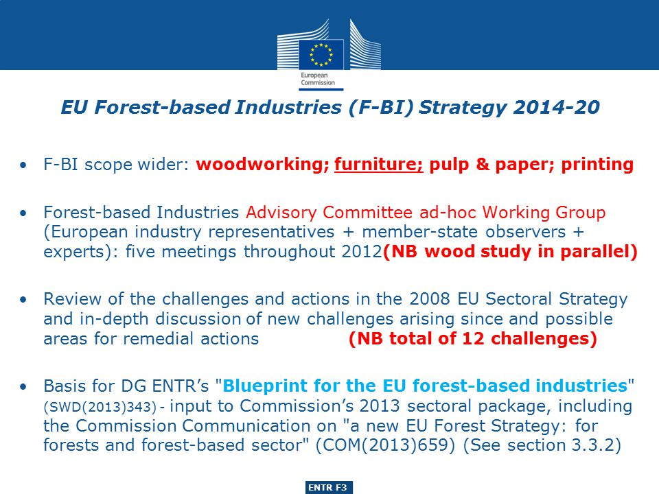 ENTR G3 ENTR F3 F-BI scope wider: woodworking; furniture; pulp & paper; printing Forest-based Industries Advisory Committee ad-hoc Working Group (European industry representatives + member-state observers + experts): five meetings throughout 2012(NB wood study in parallel) Review of the challenges and actions in the 2008 EU Sectoral Strategy and in-depth discussion of new challenges arising since and possible areas for remedial actions (NB total of 12 challenges) Basis for DG ENTR's Blueprint for the EU forest-based industries (SWD(2013)343) - input to Commission's 2013 sectoral package, including the Commission Communication on a new EU Forest Strategy: for forests and forest-based sector (COM(2013)659) (See section 3.3.2) EU Forest-based Industries (F-BI) Strategy 2014-20