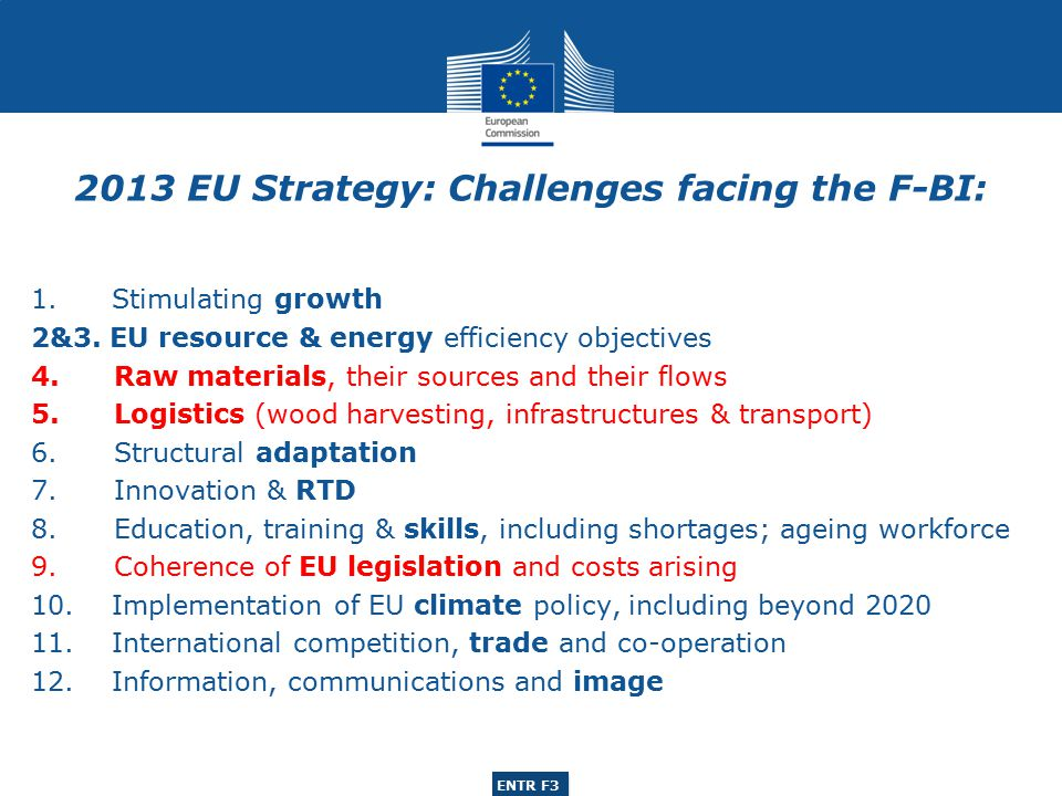 ENTR G3 ENTR F3 1. Stimulating growth 2&3. EU resource & energy efficiency objectives 4.