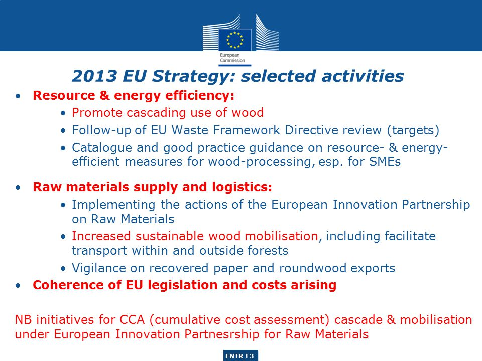 ENTR G3 ENTR F3 Main study objectives: to evaluate the respective wood raw material (wood, recovered wood, recovered paper) supply and demand situations for the EU wood-processing industries (woodworking; furniture; pulp & paper) and biomass- based bio-energy sector for the recent past (2001-2010), present (2011) and future (2016) to identify the inter-actions between these sectors in the context of the prevailing EU and member-state policy and legislative frameworks; to analyse the present and future competitiveness (quantitative; qualitative) of EU wood-processing industries vis-à-vis competitors in five global regions; to assess the scope to increase wood raw material supply from domestic (EU) sources, international sources, as well as to increase the efficiency of wood uses.