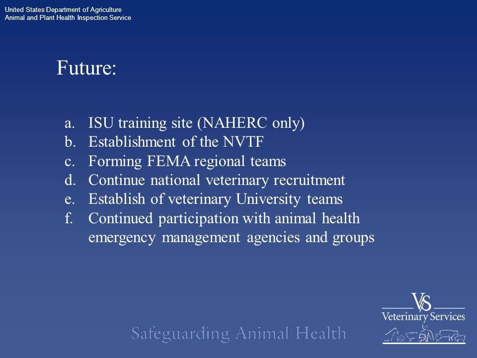 United States Department of Agriculture Animal and Plant Health Inspection Service Future: a.