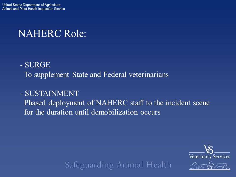 United States Department of Agriculture Animal and Plant Health Inspection Service NAHERC Role: - SURGE To supplement State and Federal veterinarians - SUSTAINMENT Phased deployment of NAHERC staff to the incident scene for the duration until demobilization occurs