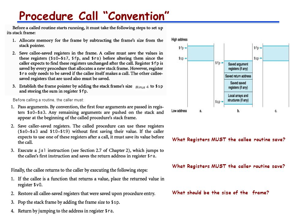 Procedure Call Convention Before calling a routine, the caller must: What Registers MUST the callee routine save.