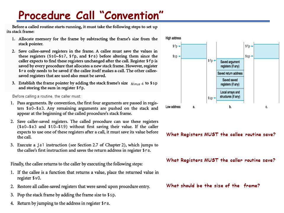 MIPS Register Convention NameRegister Number UsagePreserve on call.
