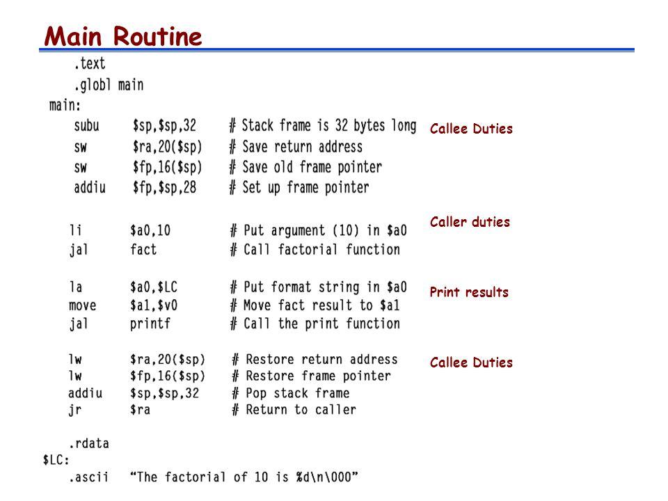 Called Routine Callee duties Routine algorithm Caller duties Callee duties