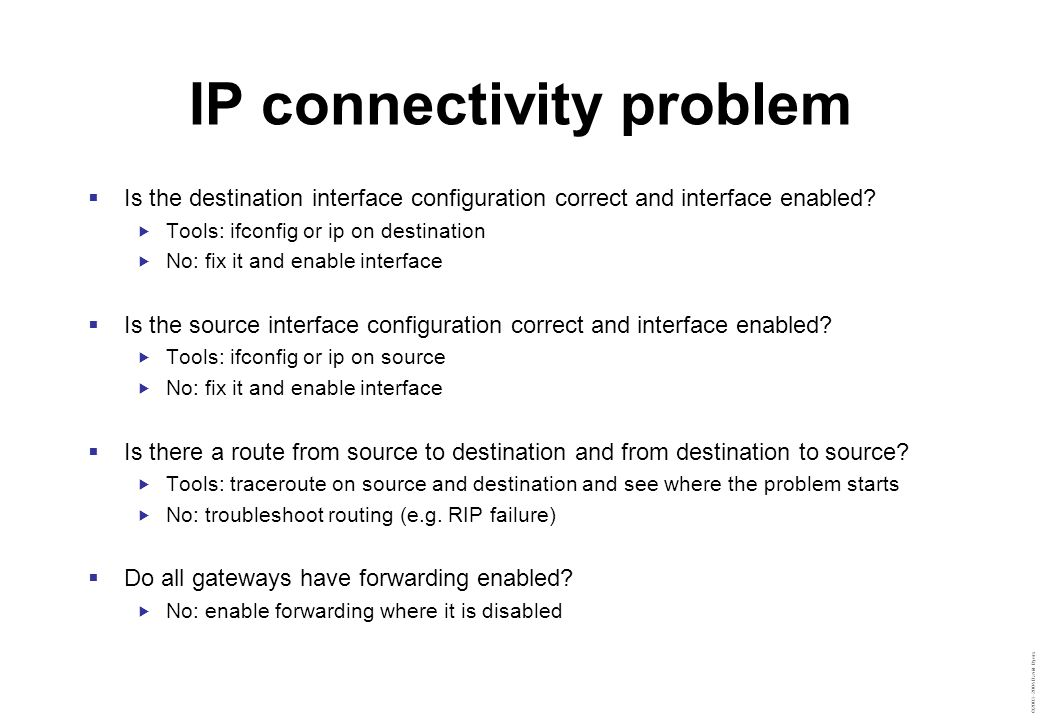 ©2003–2004 David Byers IP connectivity problem  Is the destination interface configuration correct and interface enabled?  Tools: ifconfig or ip on