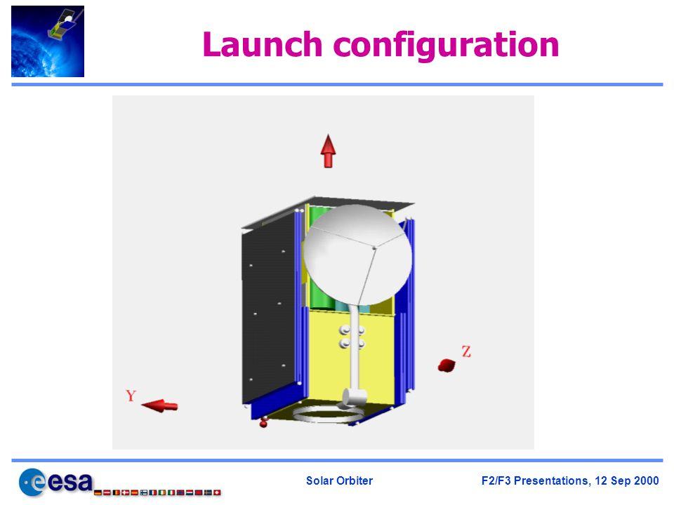 Solar Orbiter F2/F3 Presentations, 12 Sep 2000 Launch configuration