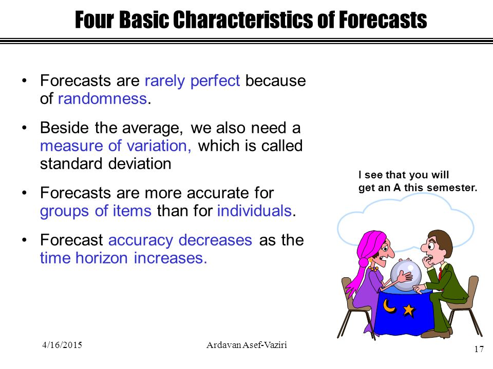 Forecasts are rarely perfect because of randomness.