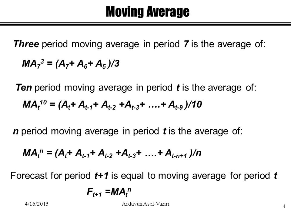 Moving Average Three period moving average in period 7 is the average of: MA 7 3 = (A 7 + A 6 + A 5 )/3 4/16/2015 4 Ardavan Asef-Vaziri MA t 10 = (A t + A t-1 + A t-2 +A t-3 + ….+ A t-9 )/10 Ten period moving average in period t is the average of: n period moving average in period t is the average of: MA t n = (A t + A t-1 + A t-2 +A t-3 + ….+ A t-n+1 )/n Forecast for period t+1 is equal to moving average for period t F t+1 =MA t n