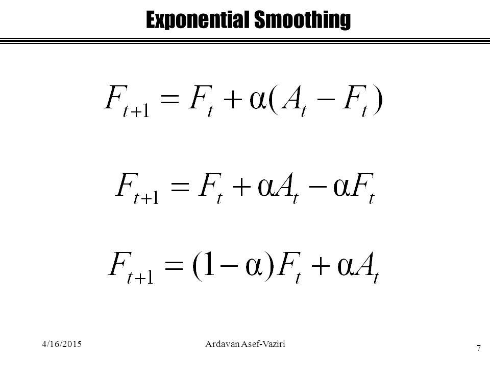 Exponential Smoothing 4/16/2015 7 Ardavan Asef-Vaziri