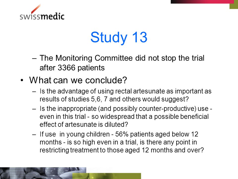 Study 13 –The Monitoring Committee did not stop the trial after 3366 patients What can we conclude.