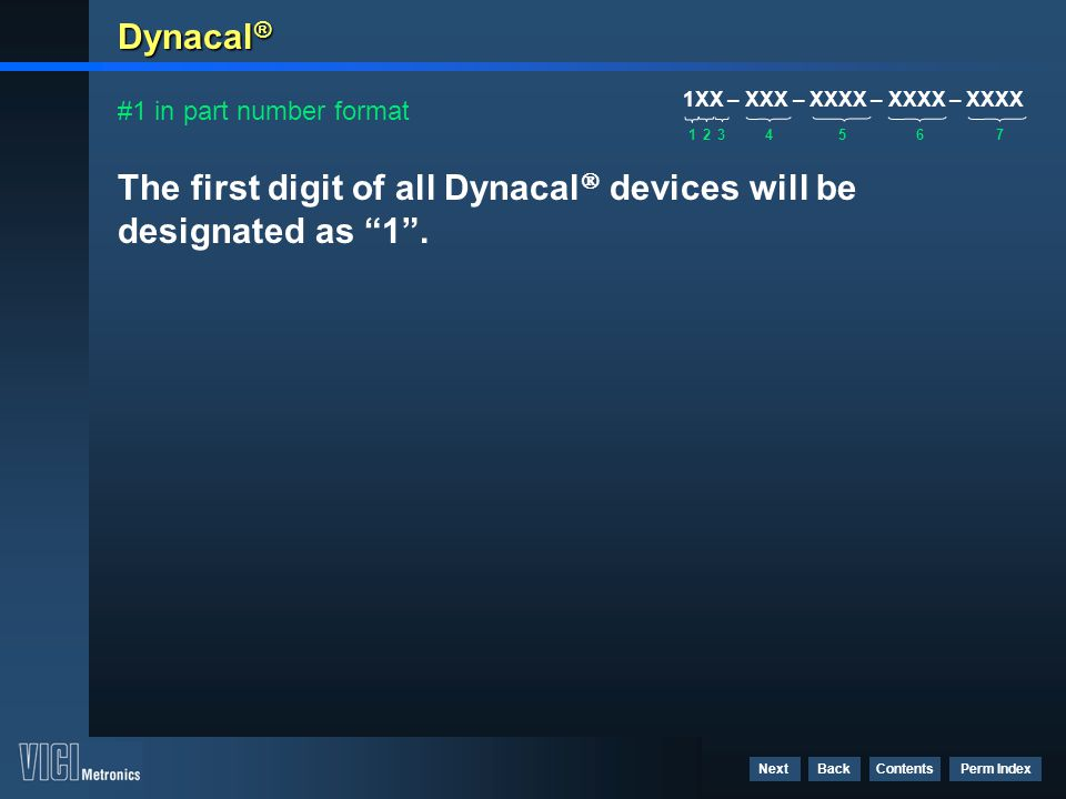 "Contents Perm Index BackNext Dynacal ® The first digit of all Dynacal  devices will be designated as ""1"". #1 in part number format 1XX – XXX – XXXX –"