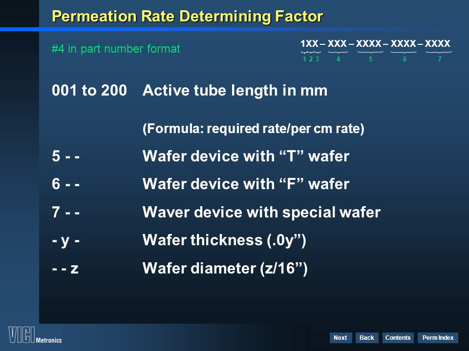 Contents Perm Index BackNext Permeation Rate Determining Factor 001 to 200Active tube length in mm (Formula: required rate/per cm rate) 5 - - Wafer de