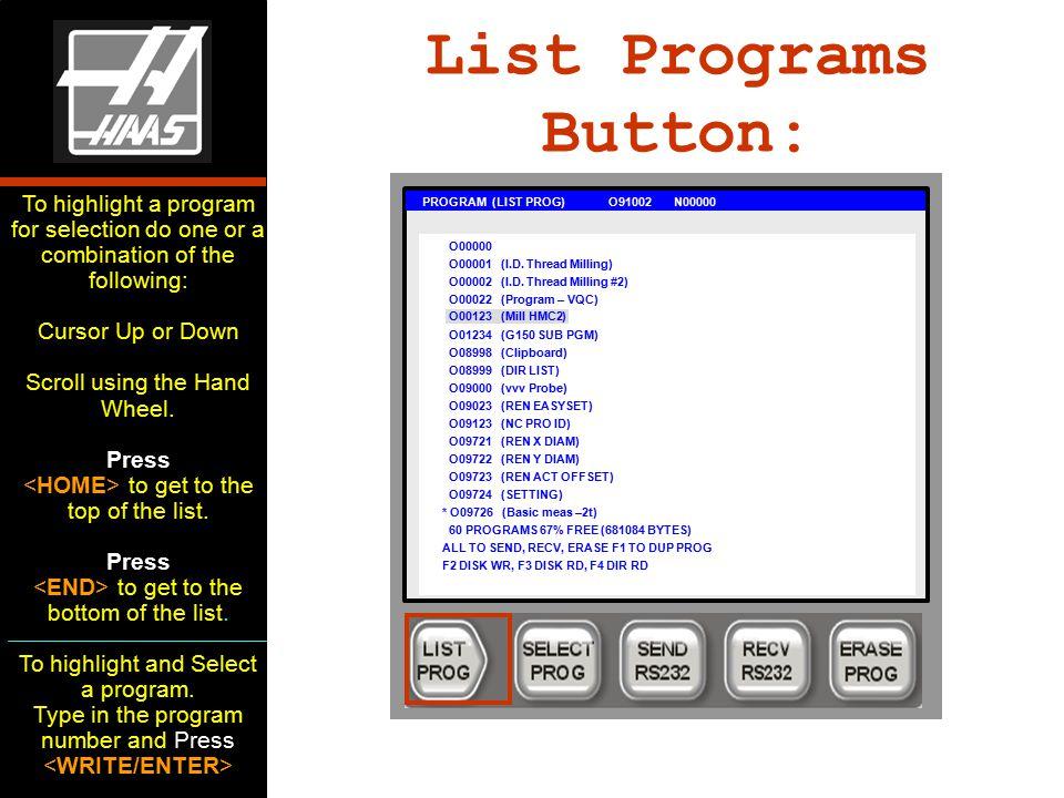 List Programs Button: PROGRAM (LIST PROG) O91002 N00000 O00000 O00001 (I.D.