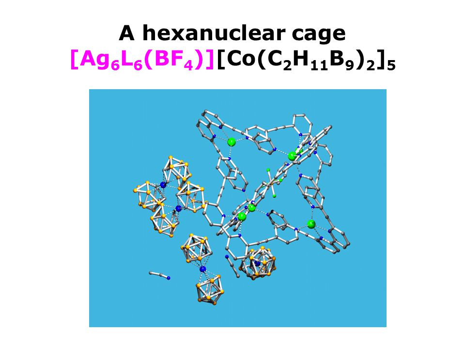 A hexanuclear cage [Ag 6 L 6 (BF 4 )][Co(C 2 H 11 B 9 ) 2 ] 5