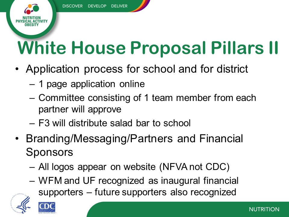 White House Proposal Pillars III Financial concerns –F3 full responsibility and oversight of website Financial burden + staffing Administrative costs compensated –F3 non-profit entity with financial oversight and responsibility of program Transparency