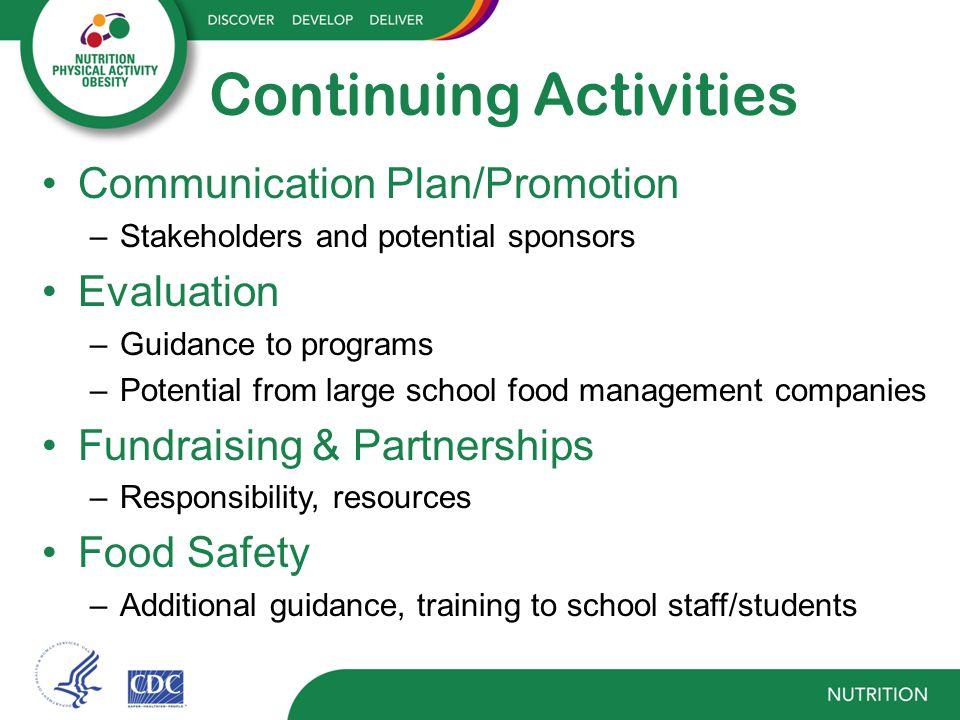 Continuing Activities Communication Plan/Promotion –Stakeholders and potential sponsors Evaluation –Guidance to programs –Potential from large school food management companies Fundraising & Partnerships –Responsibility, resources Food Safety –Additional guidance, training to school staff/students