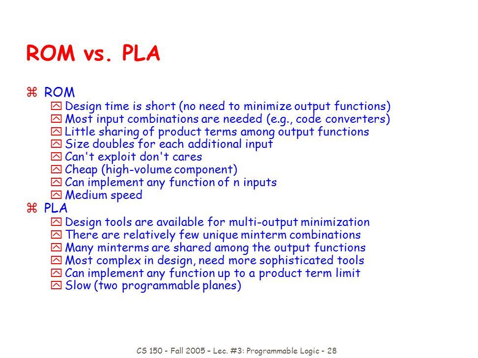 CS 150 - Fall 2005 – Lec. #3: Programmable Logic - 28 ROM vs.