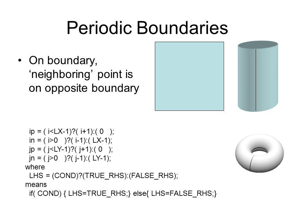 Periodic Boundaries On boundary, 'neighboring' point is on opposite boundary ip = ( i<LX-1)?( i+1):( 0 ); in = ( i>0 )?( i-1):( LX-1); jp = ( j<LY-1)?