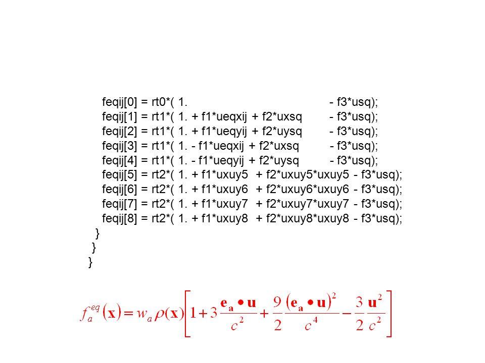 feqij[0] = rt0*( 1. - f3*usq); feqij[1] = rt1*( 1. + f1*ueqxij + f2*uxsq - f3*usq); feqij[2] = rt1*( 1. + f1*ueqyij + f2*uysq - f3*usq); feqij[3] = rt