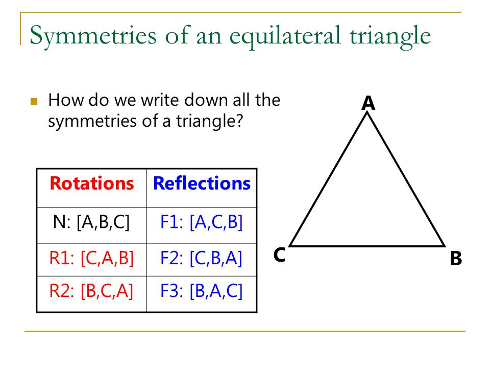 Symmetries of an equilateral triangle How do we write down all the symmetries of a triangle.